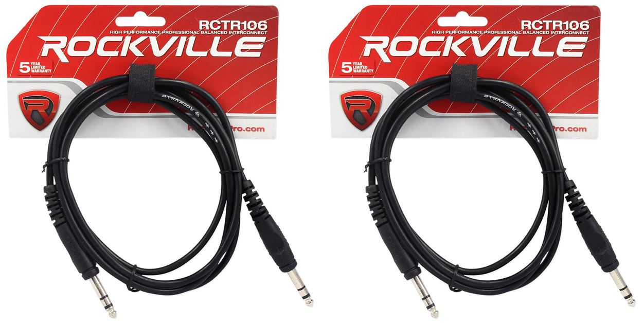 """2 Rockville RCTR103RR-B 3/' Black 1//4/"""" TRS Right Angle to Same Cable 100/% Copper"""