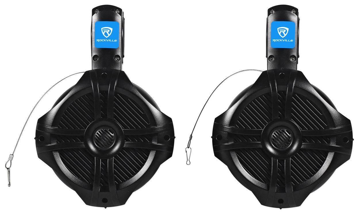 """Pair Rockville RWB65B 6.5/"""" Black 2 Way 250 Watt Marine Wakeboard Tower Speakers"""