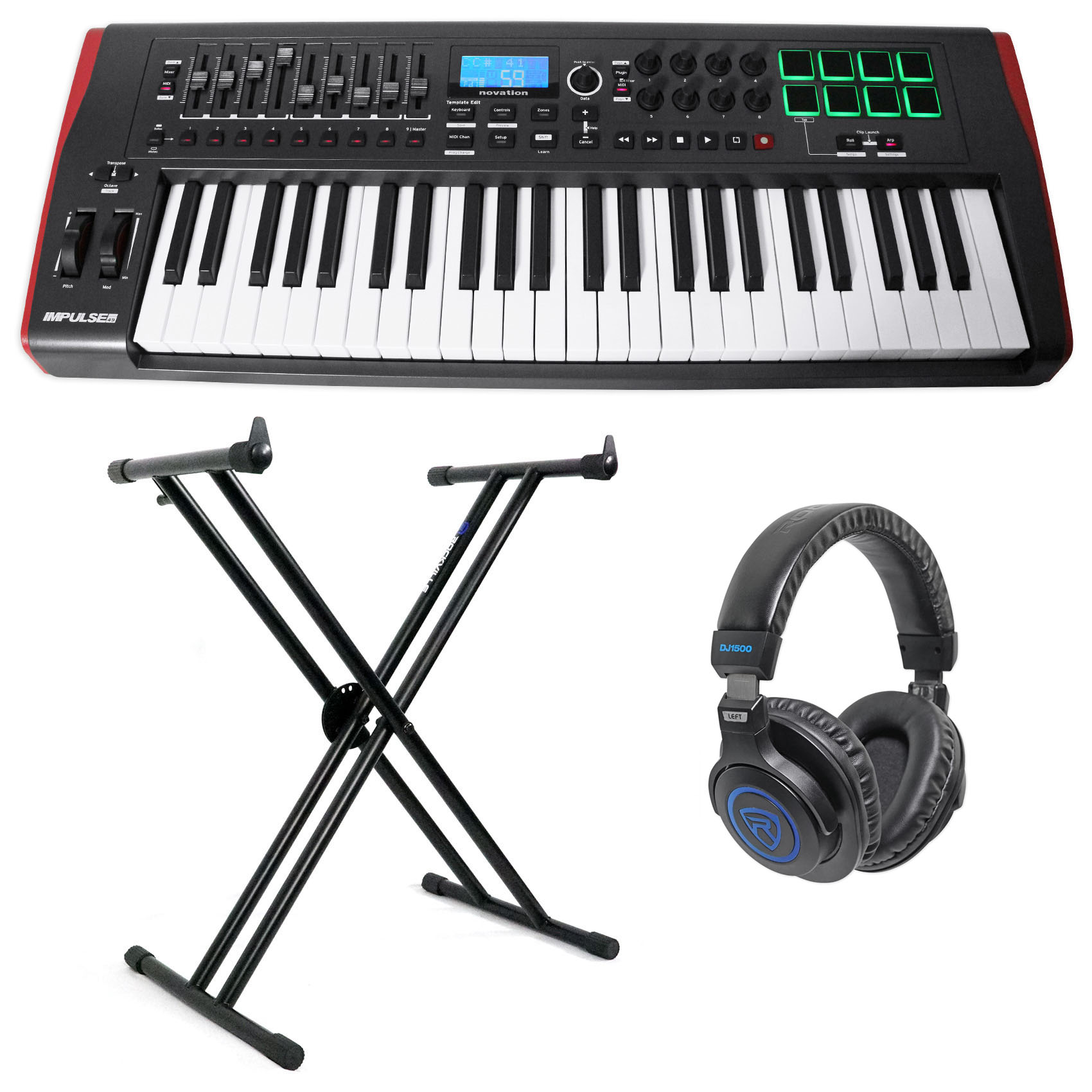 Rockville Double X Braced Keyboard Stand+Push Lock For Novation Launchkey 61