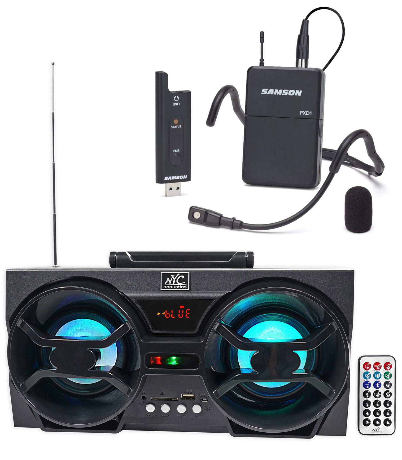 Samson Stage XPD2 USB Beltpack Wireless Fitness Headset+Bluetooth Headphones