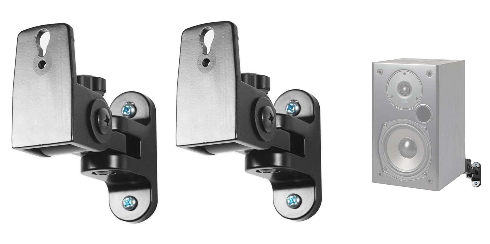 Pair Hidden Wall Mount Swivel Brackets For Polk Audio T15 Bookshelf  Speakers | eBay