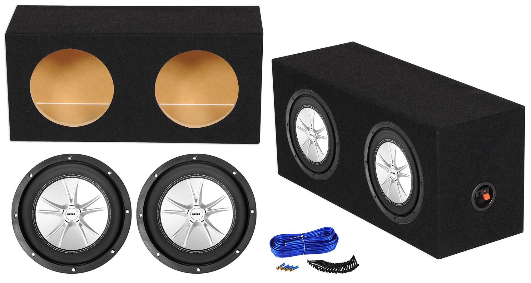 MDF Sealed Car Sub Box Subwoofer Enclosure ft Rockville RDE8 Dual 8 0.63 cu