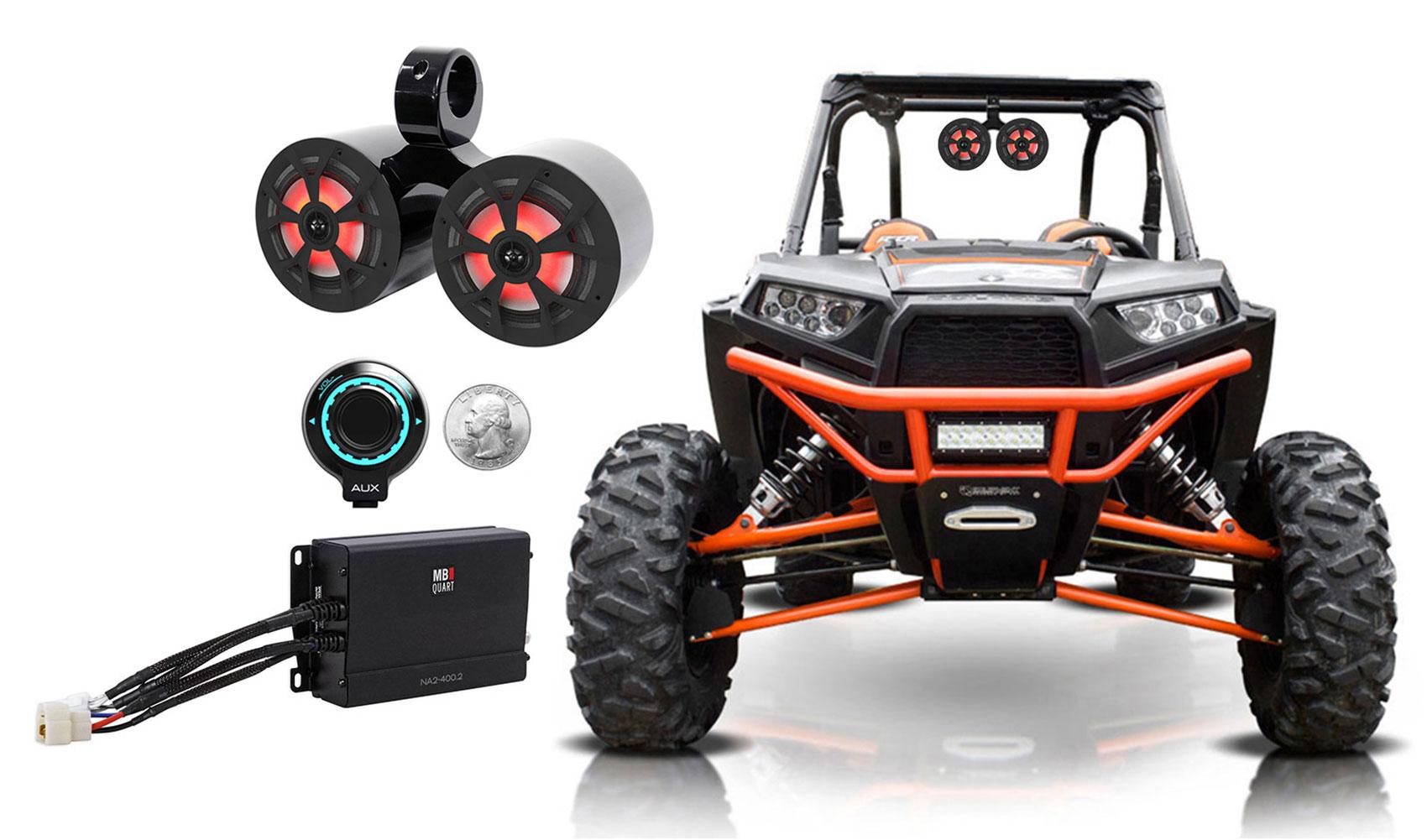 2 Rockville 6.5 LED Tower Speakers+MB QUART Amp+Bluetooth Ctrl RZR//ATV//UTV//Cart