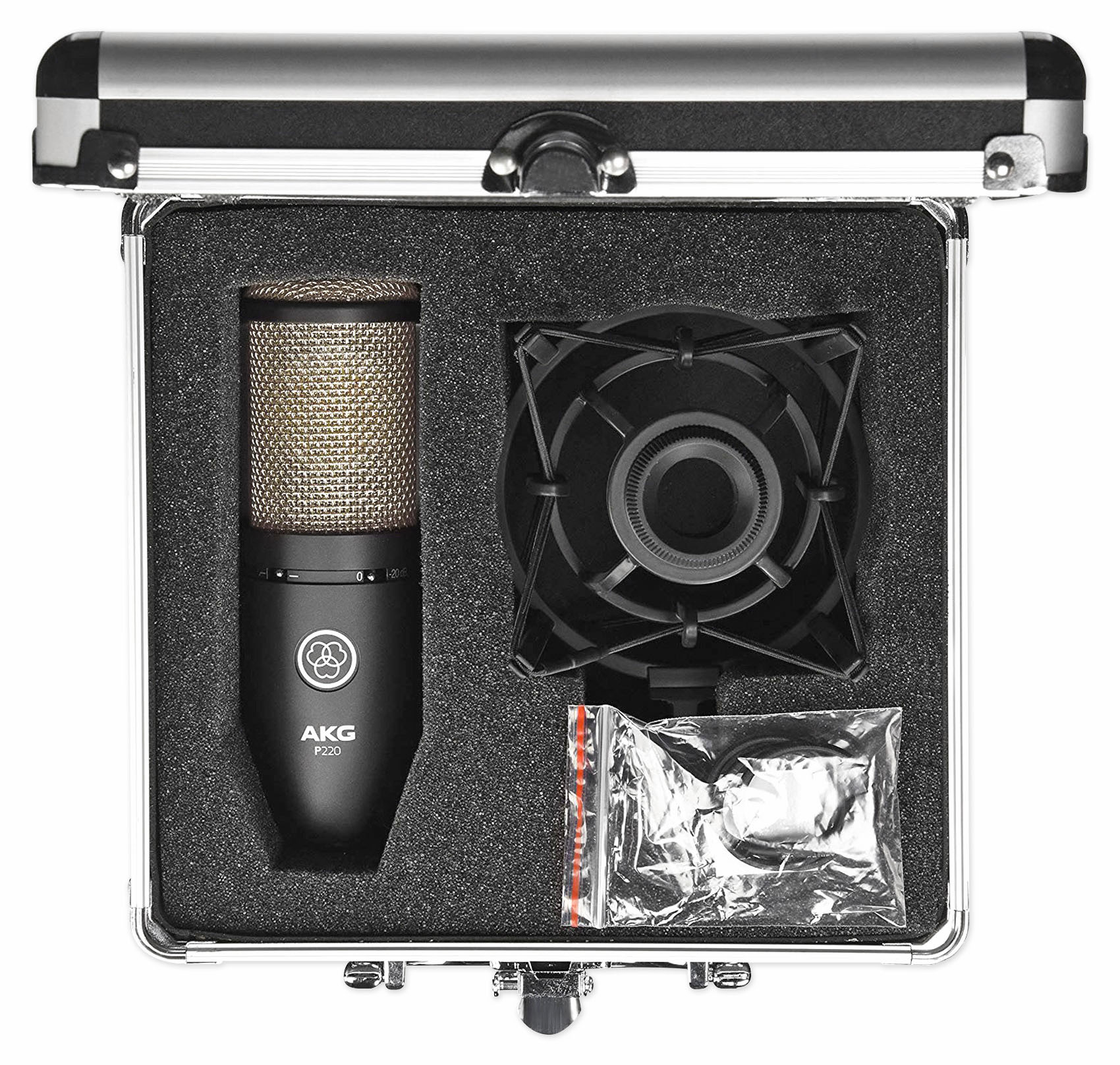 AKG P220 Studio Condenser Microphone Recording Mic+Shockmount+Carry Case