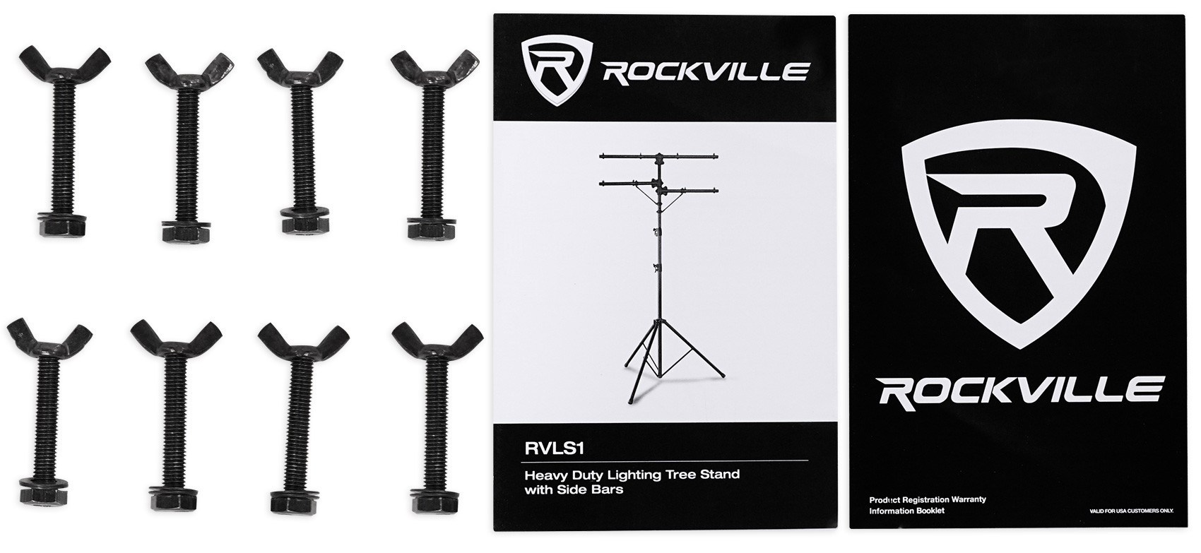 Pair Rockville Rvls1 Tripod Lighting Stands Wside Bars 8