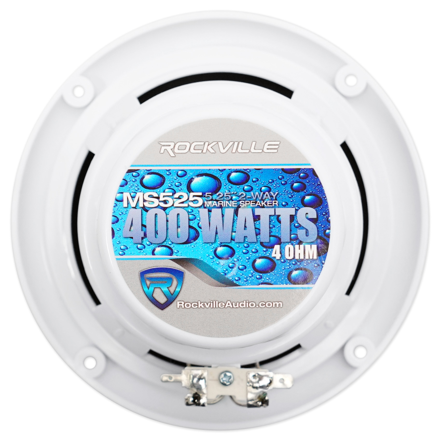"Pair Rockville MS525W 5.25/"" 400 Watt Marine Boat Wakeboard Tower Speakers-White"