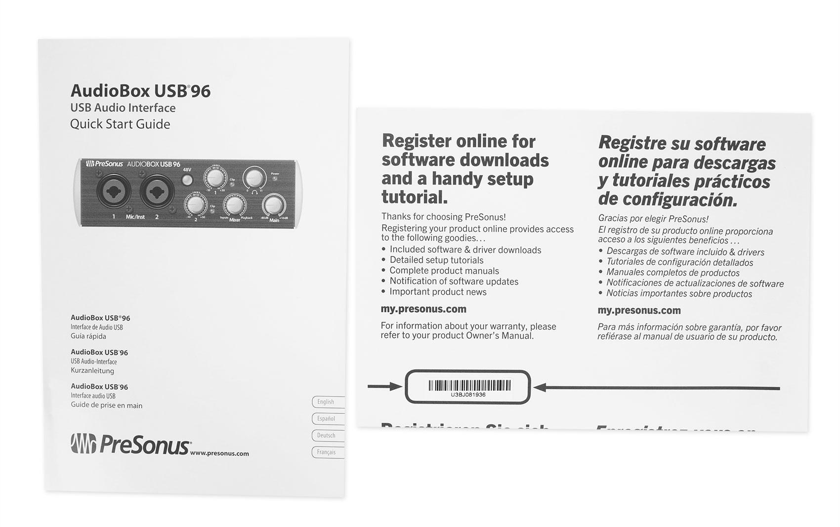PRESONUS AUDIOBOX USB 96 2x2 Bus-powered Audio Recording MIDI Interface in Black