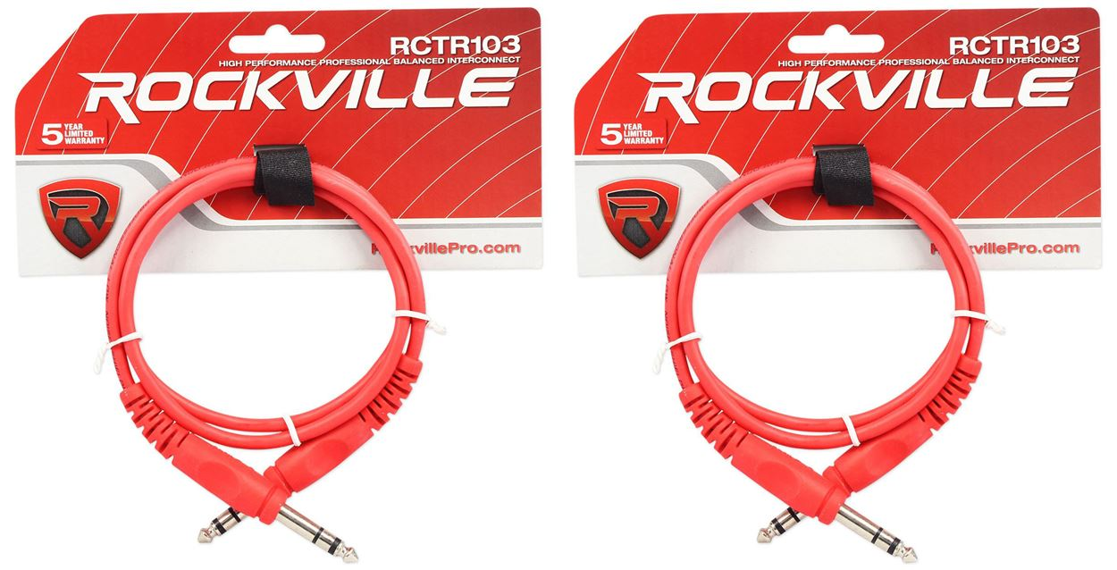 Rockville RCXMB10G 10/' Male REAN XLR to 1//4/'/' TRS Cable Green 100/% Copper