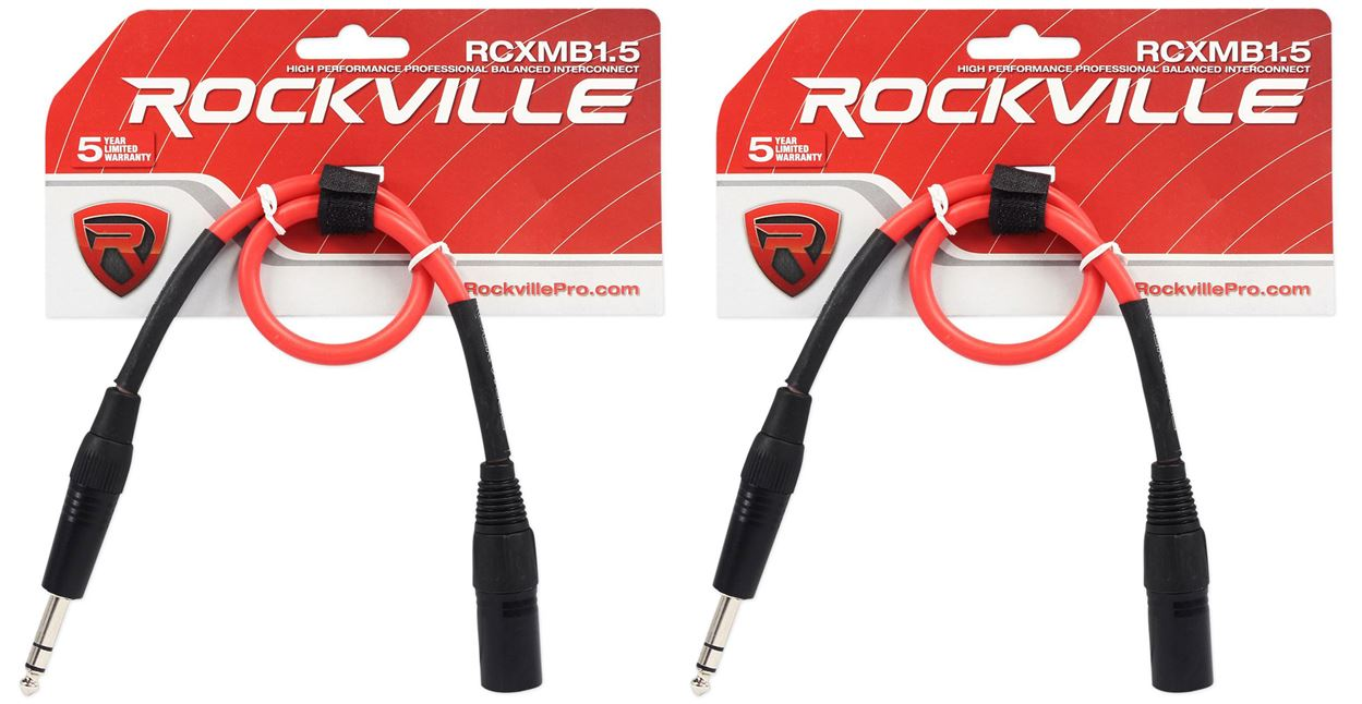 2 Rockville RCXMB30-R Red 30/' Male REAN XLR to 1//4/'/' TRS Balanced Cables