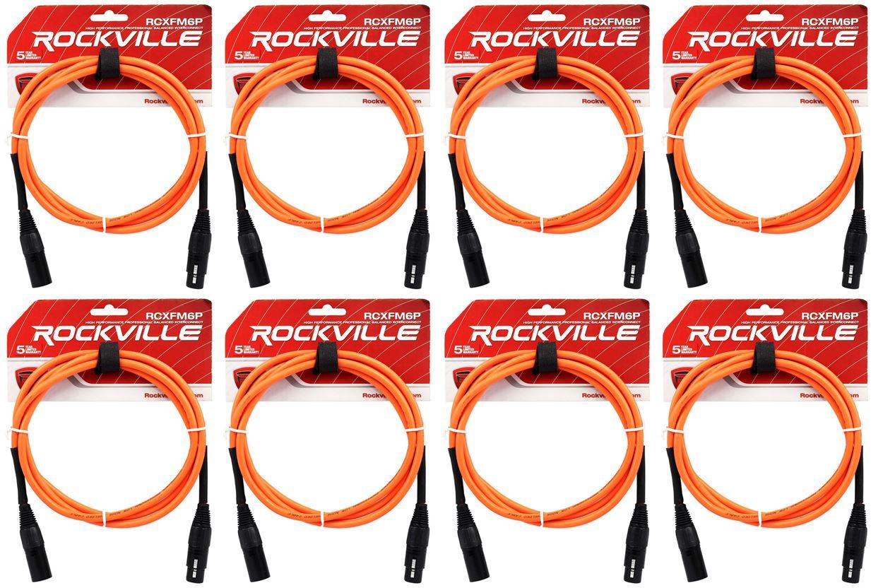 8 Rockville RCXFM6P-G Green 6/' Female to Male REAN XLR Mic Cable 100/% Copper