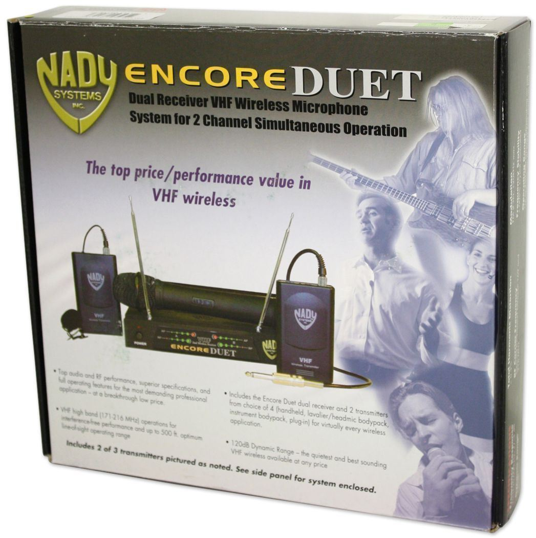Nady Encore Duet GT Dual 2 Channel Guitar//Bass//Kybd//Inst VHF Wireless System